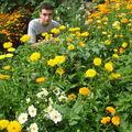 2008 08 28 Cyril devant ses soucis et son mélange de fleurs pour abeilles