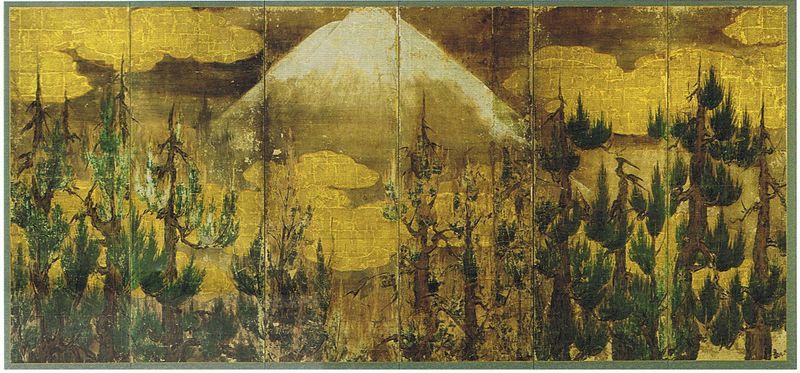 10-Mont Fuji et cryptomères, attribuée à Kano Eitoku (1543-1590), époque de Momoyama (1568-1603), H155,5cm, L342cm,, n°2
