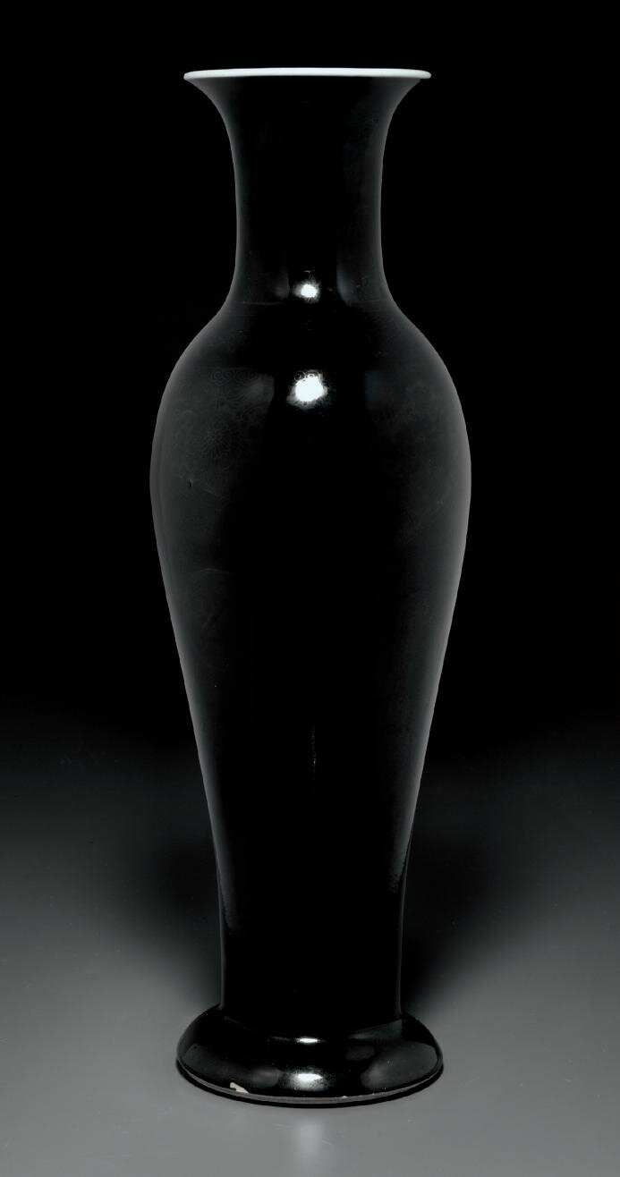 A mirror-black-glazed vase, Kangxi period (1662-1722)