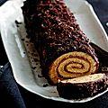 Bûche de noël marrons/chocolat