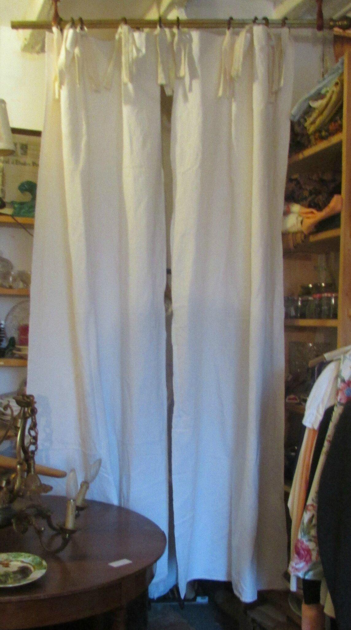 Double rideaux lin blanc casse draps anciens en lin linge - Double rideaux en lin ...
