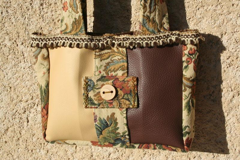petit sac skaï beige-marron et tissu