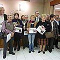 distribution de prix à Bonny: Jacqueline, 2éme prix (5 des lauréats exposent à St. Bonnot !!!!)