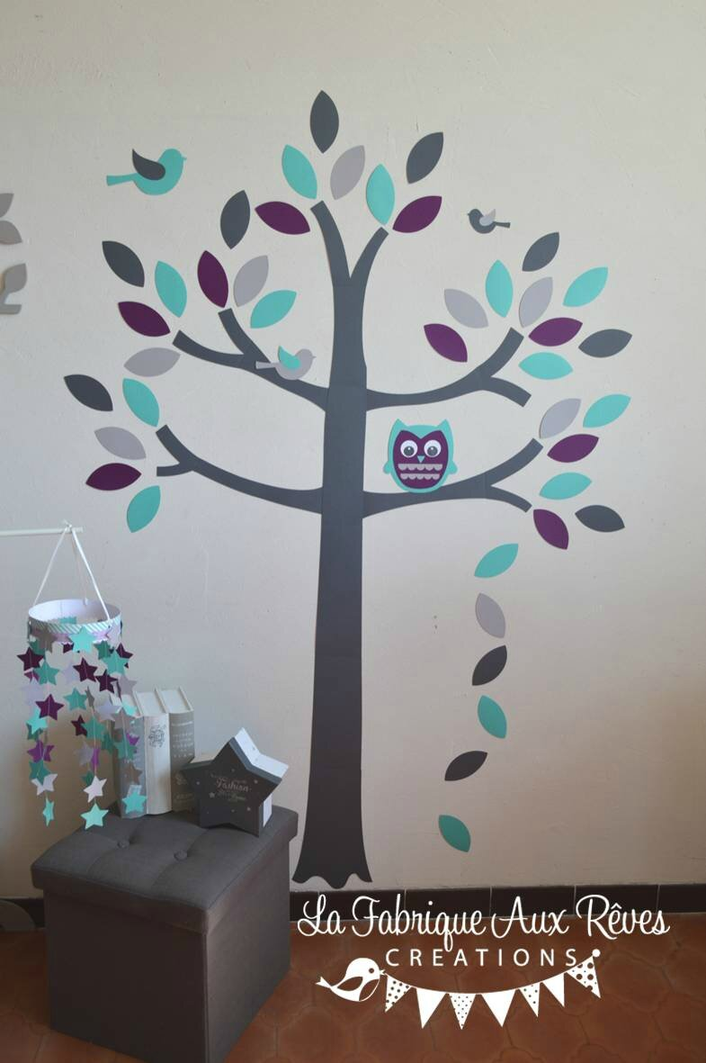 stickers arbre gris violet turquoise cara be aqua hibou. Black Bedroom Furniture Sets. Home Design Ideas