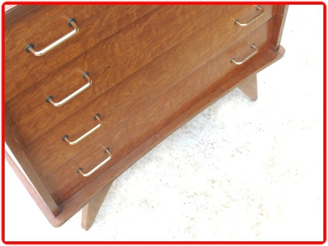 COMMODE VINTAGE PIEDS COMPAS ANNEES 1950