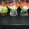 Verrine de saumon chevre avocat