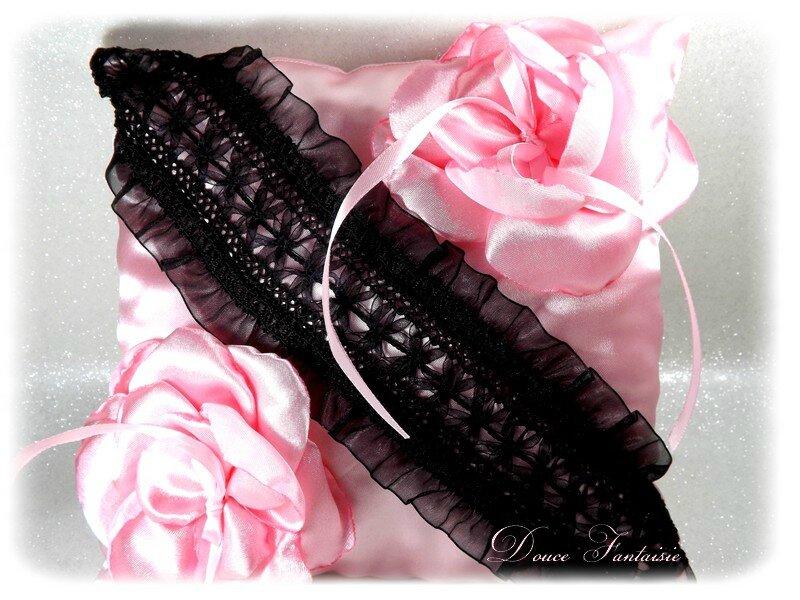 Coussin alliance rose et noir