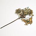 Épingle à cheveux en bronze doré, chine, xixe siècle