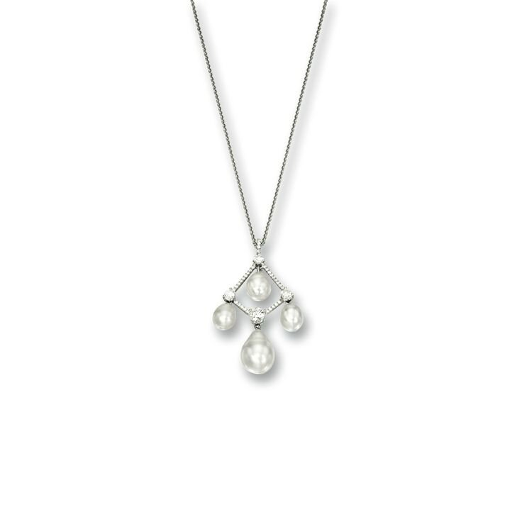 Natural Pearl and Diamond Pendant