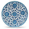 A large blue and white 'lotus' dish, qianlong six-character seal mark in underglaze blue and of the period (1736-1795)