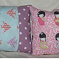 Coussins motifs kokeshi et origami