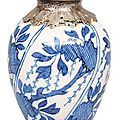 A small baluster vase with silver mounting. China, 18th cent. (Qing-dynasty 1644-1911)