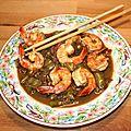 Gambas ou grosses crevettes aux deux piments