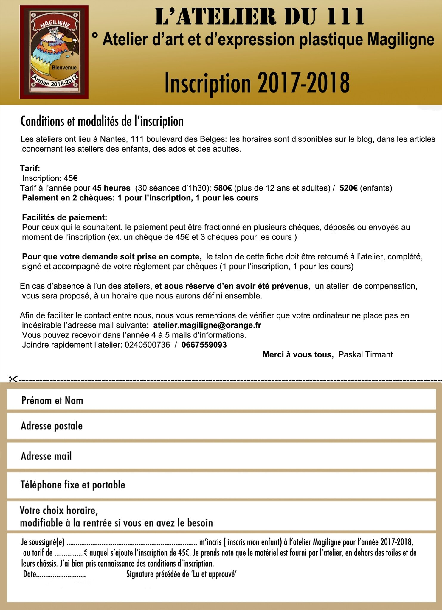 Fiche d'inscription 2017-2018