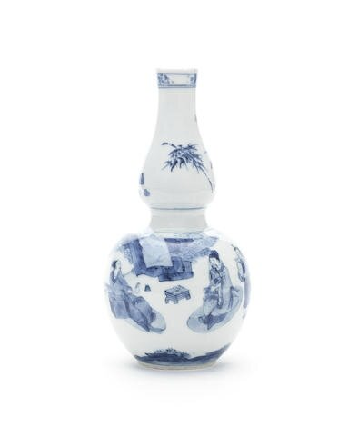 A blue and white double-gourd vase, Circa 1640-1650