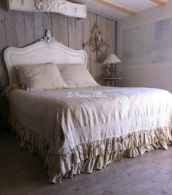 Housse de couette chanvre ancien dentelle coton decoration romantique shabby chic decoration de charme le grenier d'alice