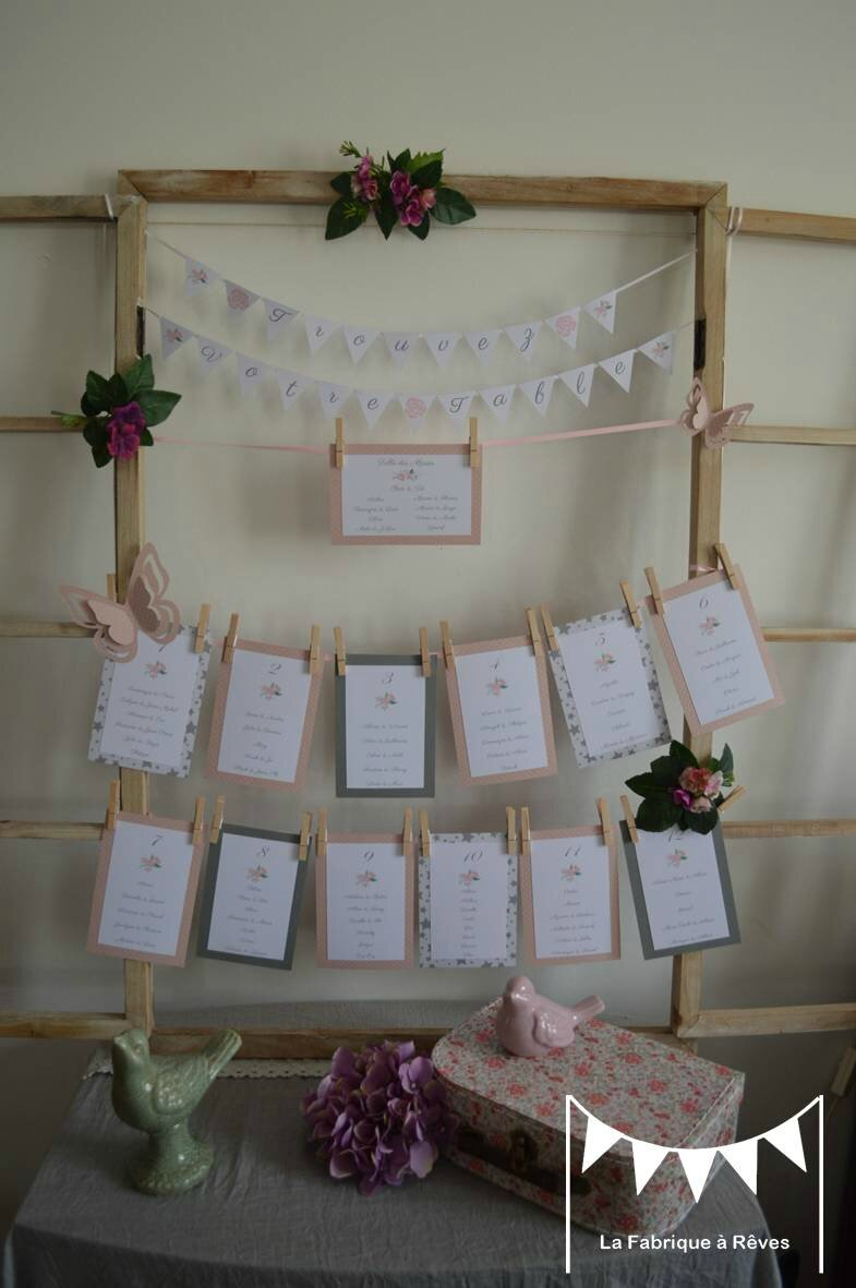 Plan De Table Fanions Et Cartons Mariage Gris Et Rose Poudr Th Me Champ Tre Photo De