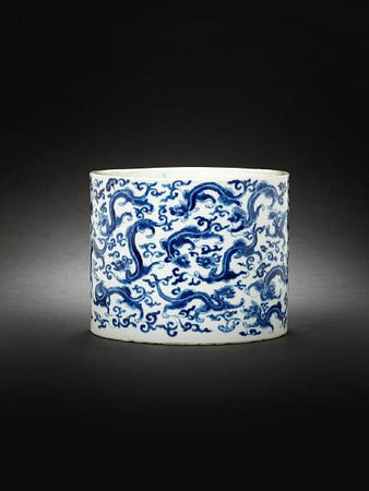 A_blue_and_white_cylindrical_brushpot__bitong