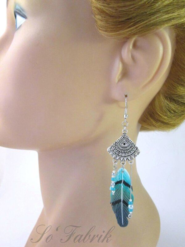 BO grandes plumes turquoise tige