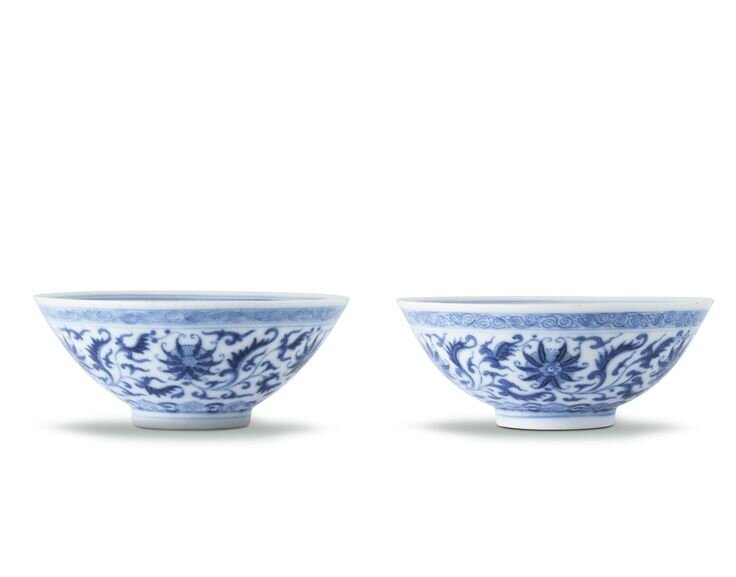 A pair of fine blue and white 'Lotus' bowls, Seal marks and period of Daoguang