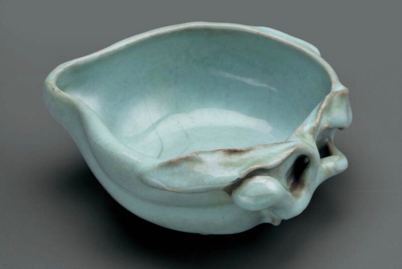 An unusual guan-type peach-form brush washer, China, Qing dynasty, 18th century