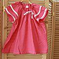 Blouse à manches volantées, 6 ans, tissu étoilé fushia, 25€