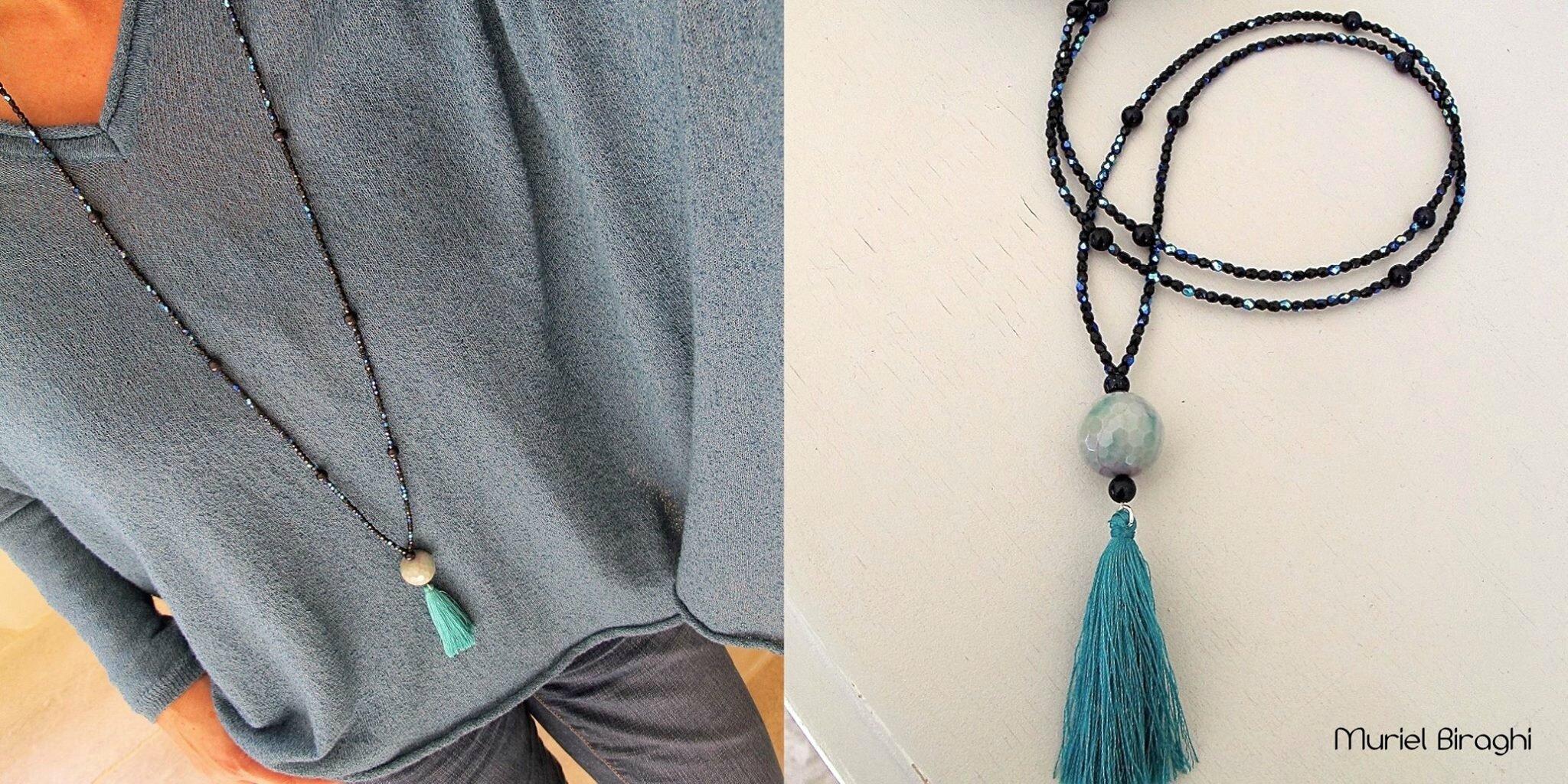Sautoir Grelot Stone & Silk Pompon