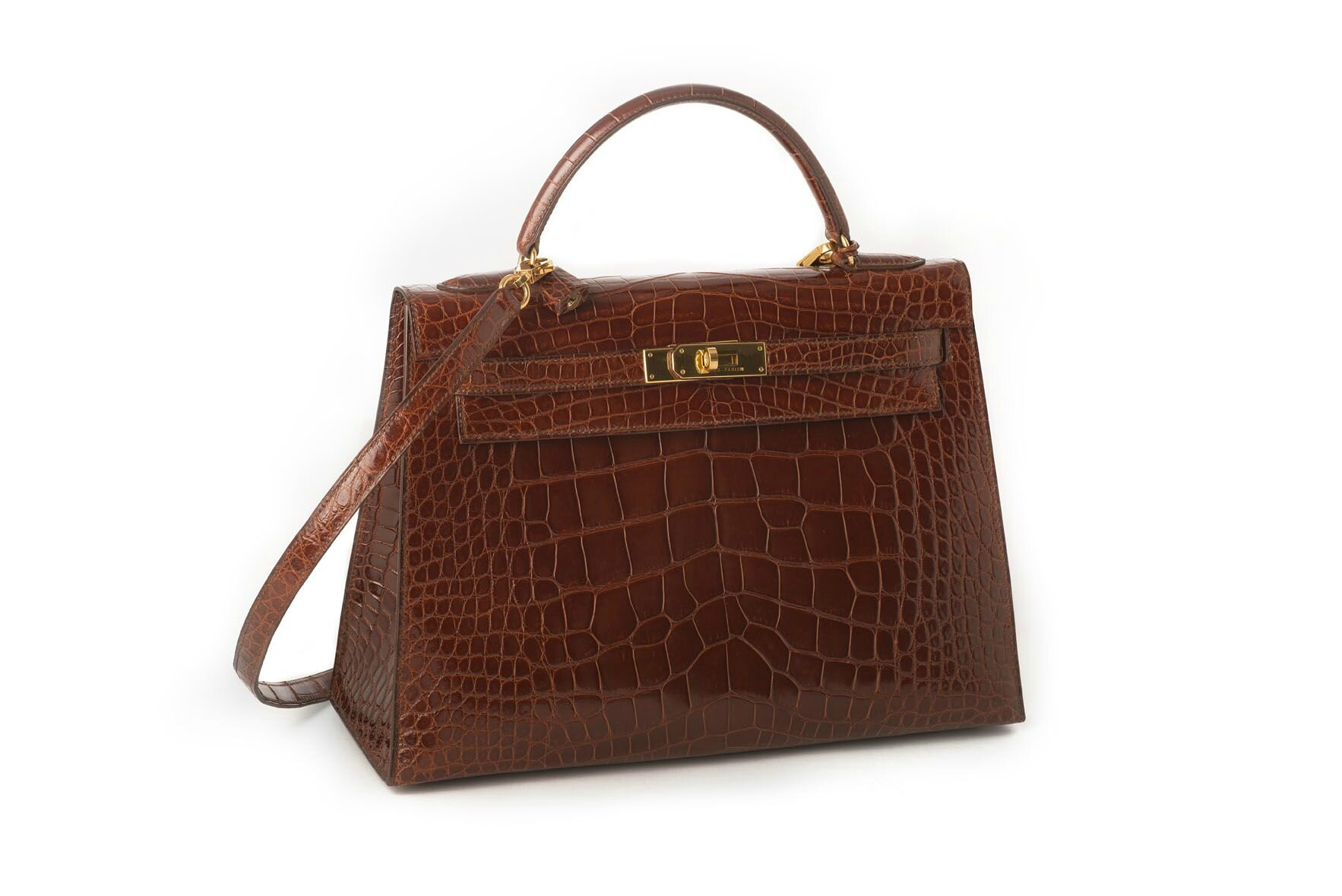 "Hermès, Sac ""Kelly"" 32 cm en Alligator (alligator mississippiensis) Havane"
