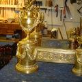 Chenets en bronze Louis XVI