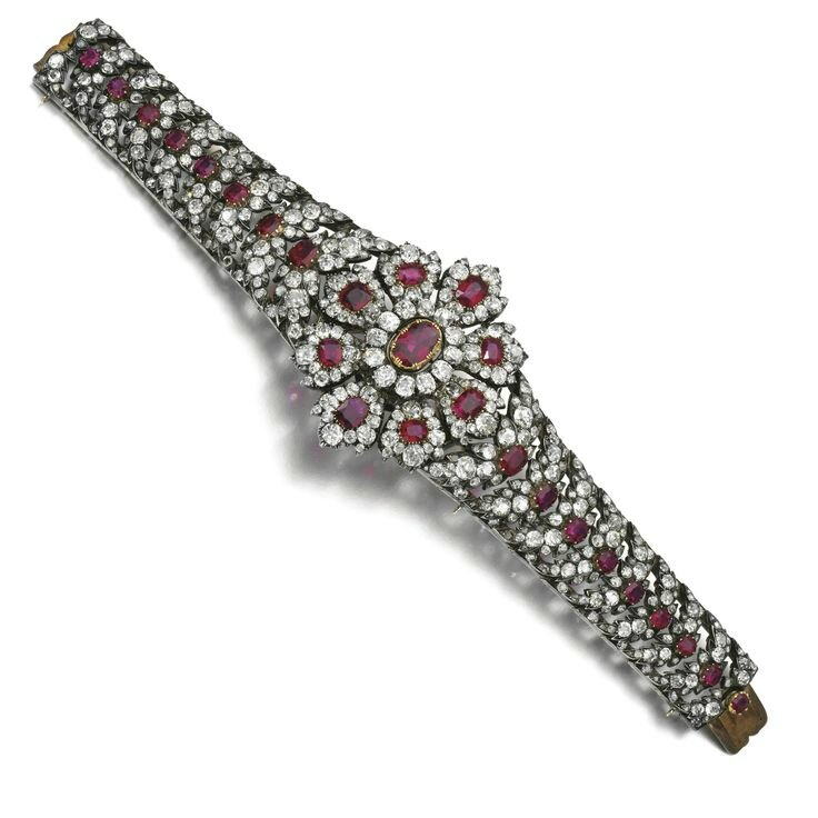 Ruby and diamond bracelet, second half of the 19th century