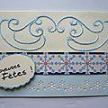 Carte brodée bleue 00