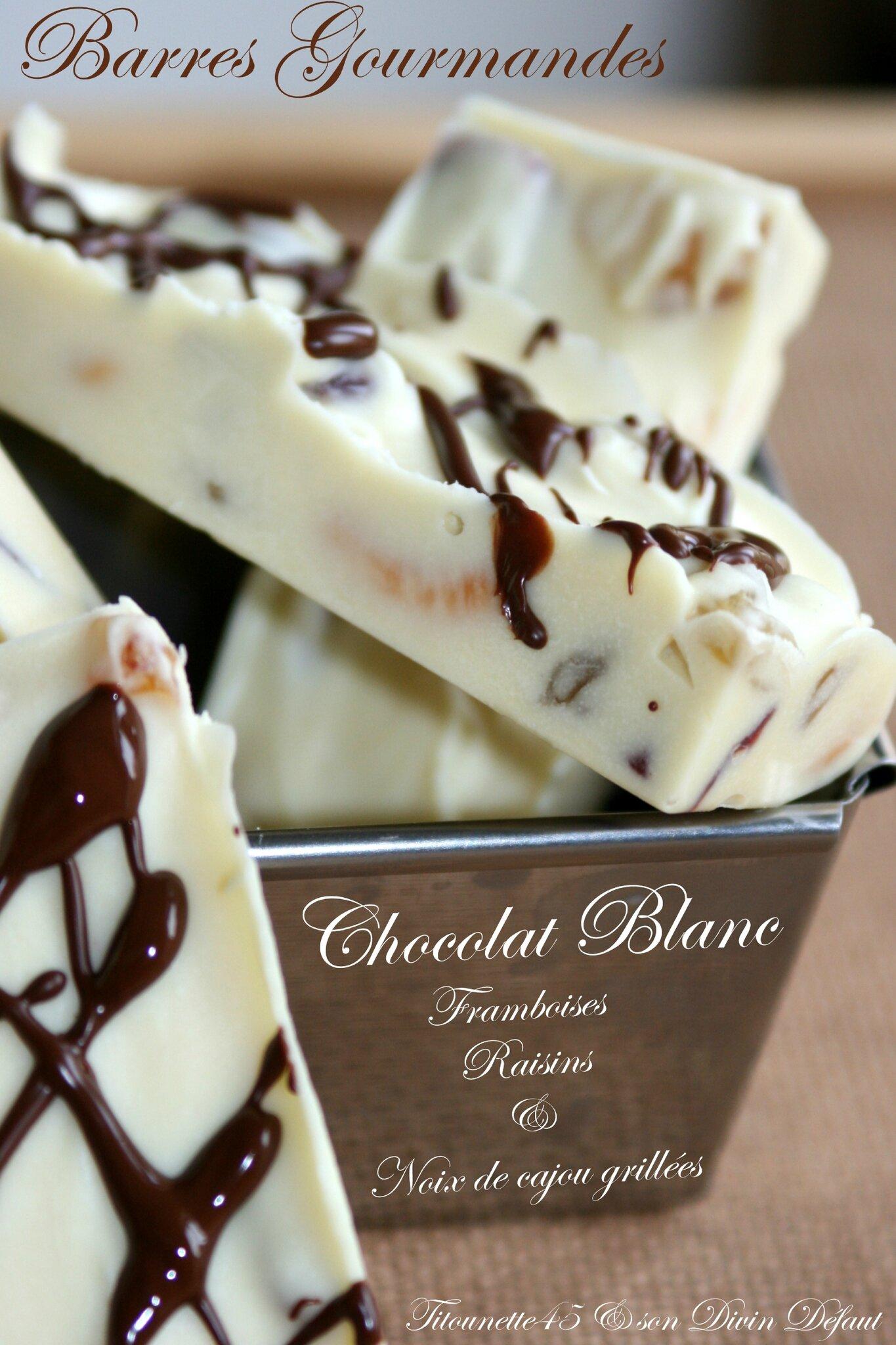 Barres gourmandes au chocolat blanc