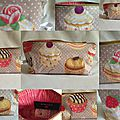 Trousse, pencil case, cupcake, 25X13cm