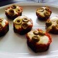 Mini pizzas d'aubergines { sans pâte }