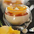 Panna cotta fève de tonka, confiture de nectarine, pêches au sirop, meringuettes.....