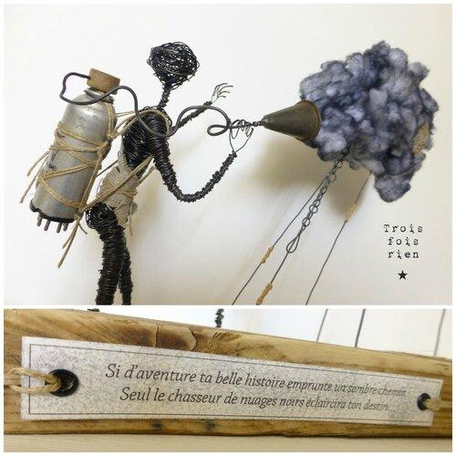 Le chasseur de nuages, clouds hunter, personnage fil de fer, fil de fer, trois fois rien, wire, wire art 6