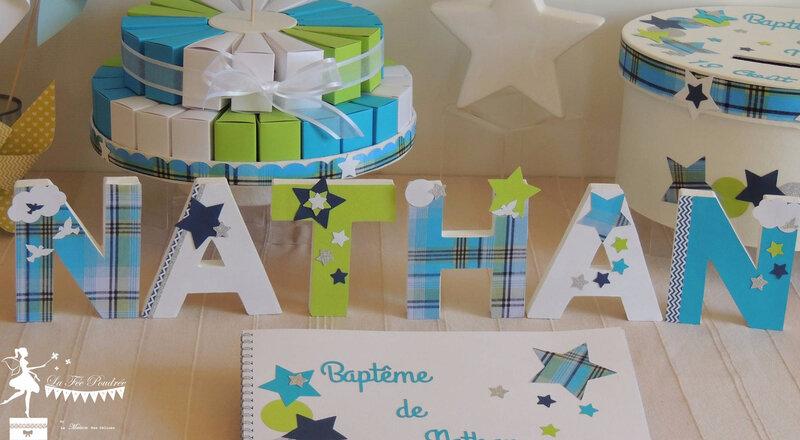 lettres decorees cadeau naissance decoration bapteme chambre enfant madras urne livre dor
