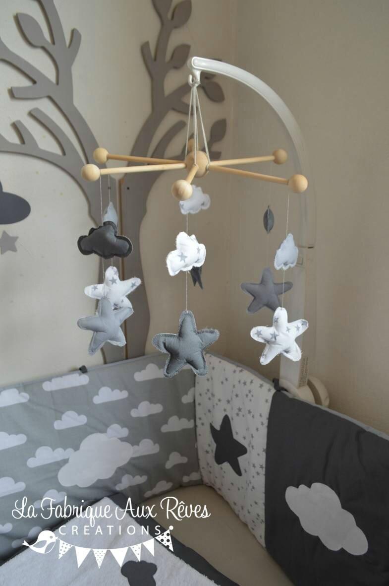 Mobile veil b b nuage toiles gris fonc gris clair - Decoration nuage chambre bebe ...