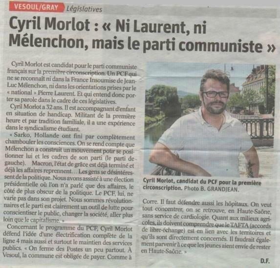 article Est rép Législatives 2017 Cyril MORLOT 28 05 2017