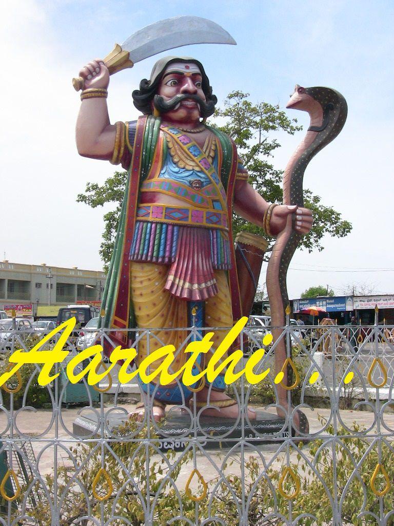 Mahishasura statue at Chamudeshwari Temple.