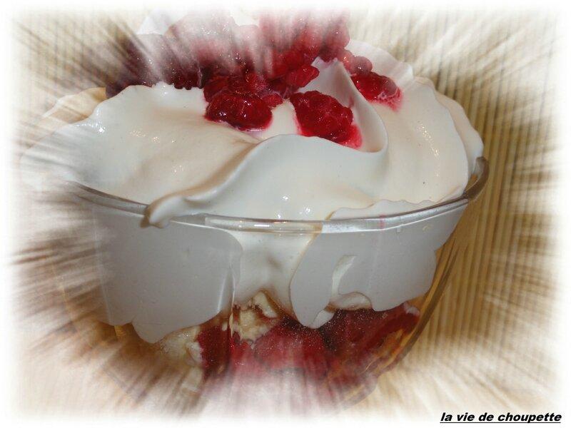 coupe glacée framboises, crème chantilly maison, eau de vie framboises, biscuits roses de Reims-1825