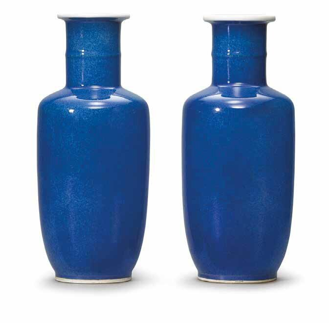 A pair of powder-blue-glazed rouleau vases, Qing dynasty, 18th-19th century