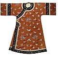 An orange-ground silk woman's 'butterfly' robe, changyi, 19th century