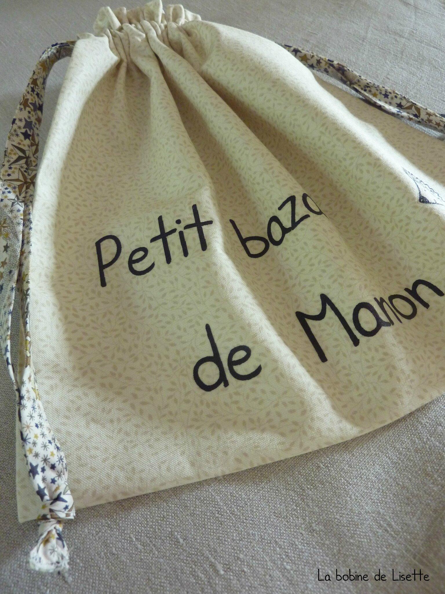 """Pochon """"Petit bazar"""" pour Manon."""