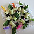 Roulés de courgettes crues au boursin figues et noix