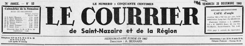 1940 le 20 décembre Courrier de Saint-Nazaire et de la Région_1