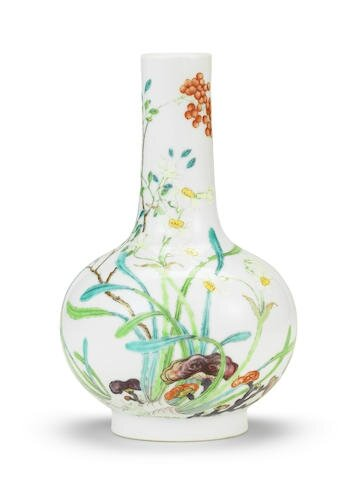 A very rare imperial famille rose bottle vase, Yongzheng six-character mark and of the period
