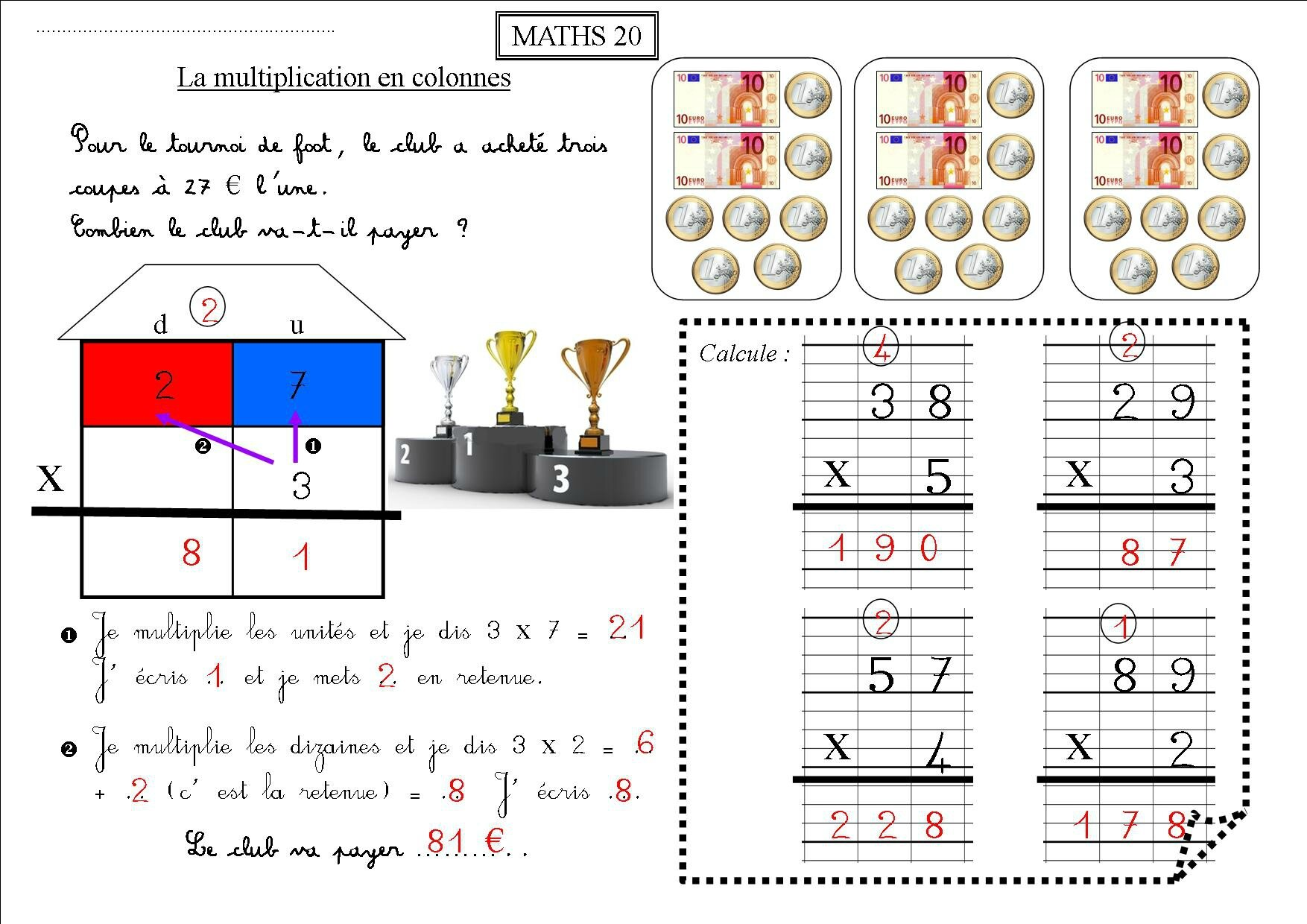 Exercice multiplication ce1 exercices ateliers pour for Multiplication ce1