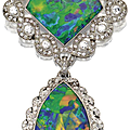 Black opal and diamond brooch, rené boivin, circa 1915