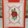 carte brodée rose pour Maman